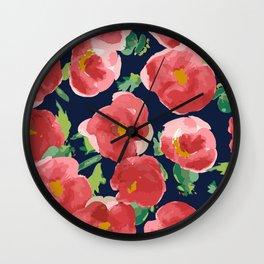 Watercolor Red Poppy Flower Bloom on Black Wall Clock