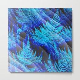 Icy Blue Ferns Nature Fantasy Metal Print