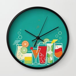 Summer Fruity Cocktail Party on Teal Background Wall Clock