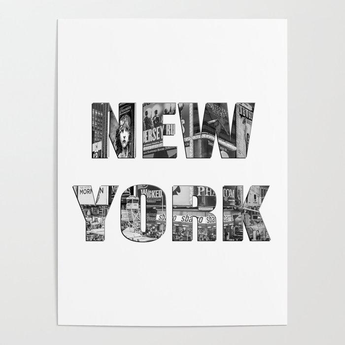 New York  B&W typography Poster