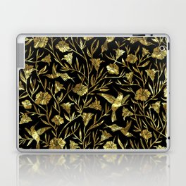 Black and gold foil humming birds & leafs pattern Laptop & iPad Skin