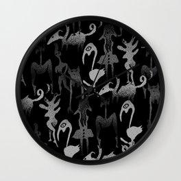 greyscale jungle tribe Wall Clock