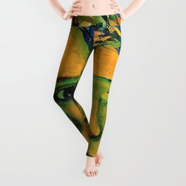 Anticipation - Abstract Gold and Emerald Goddess Leggings