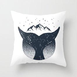 Creative Illustration. Whale Tail, Stars, Mountains, Adventure, Nautical Throw Pillow