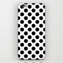 Minimalistic medium polka dots pattern, black and white iPhone Skin