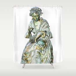 The Leics Seamstress Statue Shower Curtain
