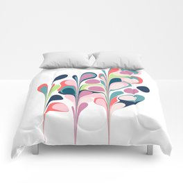 Colorful Abstract Floral Design Comforters