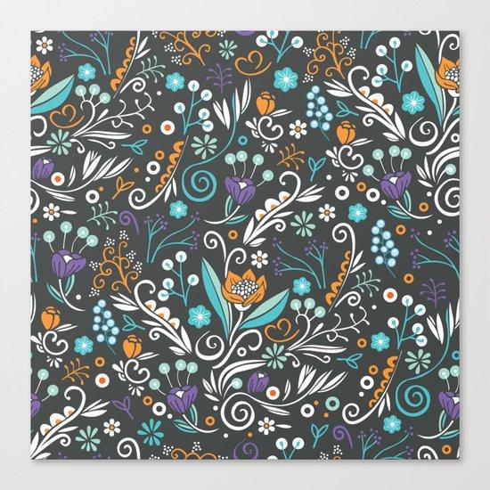Flower circle pattern, brown Canvas Print
