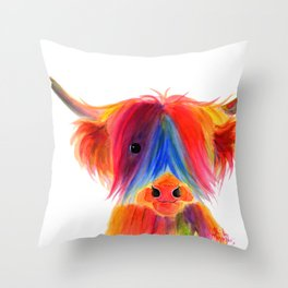 Scottish Highland Cow ' PANCAKE ' by Shirley MacArthur Throw Pillow