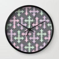 pastel goth Wall Clocks featuring Pastel Goth | Grey by Glitterati Grunge
