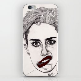 Miley with Red Lips iPhone Skin