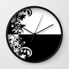 Abstract floral ornament in black and white colors Wall Clock