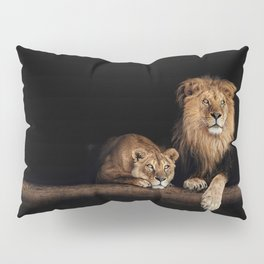 Cute lion and lioness - happy big cat family lie on the wooden log. Beautiful animals photo on dark background Pillow Sham