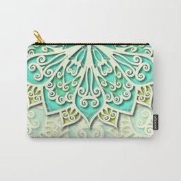 White cyan and yellow Beautiful Wedding Mandala Carry-All Pouch