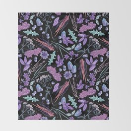 Purple flowers and jewels. Throw Blanket