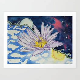 Night and Day Water Lily Art Print