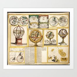 Collection of Astronomical Instruments, Charts and Maps (1769) Art Print