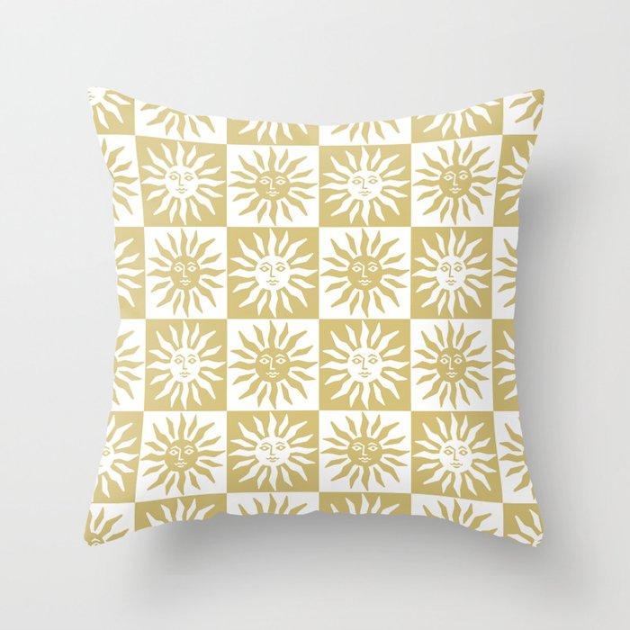 Mid Century Modern Sun Pattern Gold Throw Pillow