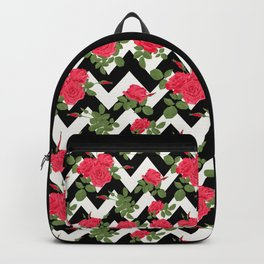 Red roses on a black zigzag Backpack