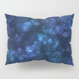Blue Snowflakes Winter Christmas Pattern Pillow Sham