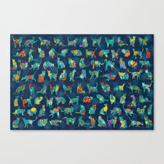 Colorful Christmas cats Canvas Print