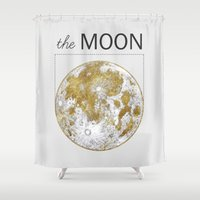 kubrick Shower Curtains featuring Golden Moon by J Arell