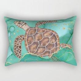 Precious Hawksbill Sea Turtle Swimming in the Emerald Ocean Rectangular Pillow