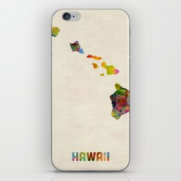 Hawaii Watercolor Map iPhone Skin