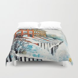 Brooklyn New York In Snow Storm Duvet Cover