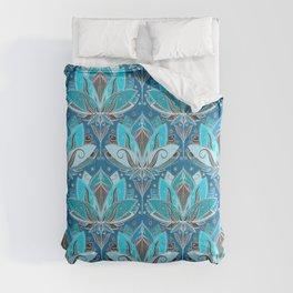 Art Deco Lotus Rising - black, teal & turquoise pattern Comforters