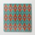 Orange Red Aqua Turquoise Teal Native Mosaic Pattern by diversestuff