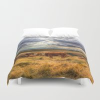 cows Duvet Covers featuring Resting Cows by David Pyatt