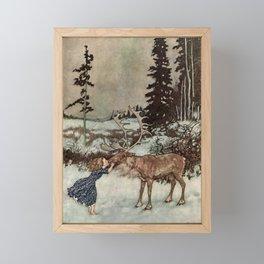 """Gerda Kisses The Reindeer"" by Edmund Dulac Framed Mini Art Print"