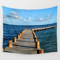 mexico Wall Tapestries featuring Docking In (Mexico) by Julie Maxwell