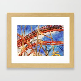 Fun on the roller coaster, close up Framed Art Print