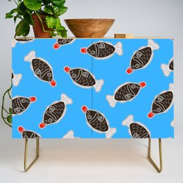 Sushi Soy Fish Pattern in Blue Credenza
