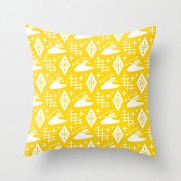 Mid Century Modern Boomerang Abstract Pattern Yellow Throw Pillow