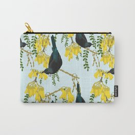 Tuis in the Kowhai Flowers Carry-All Pouch