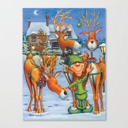 Elf Karl and the Reindeer Canvas Print