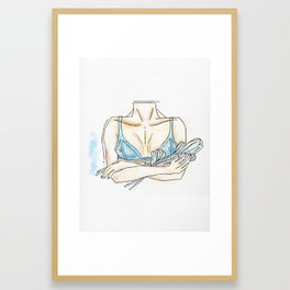 Breasts and tulips. Framed Art Print