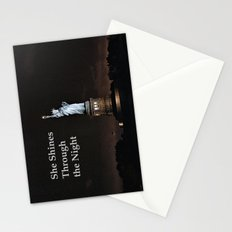 She Shines Through the Night Stationery Cards