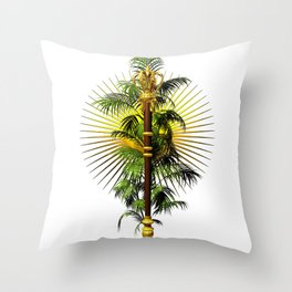 growing power, royal scepter with palm tree in front of aureole Throw Pillow