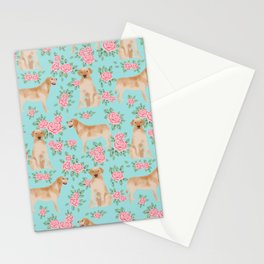 Yellow Labrador Retriever dog breed pet portraits floral dog pattern gifts for dog lover Stationery Cards
