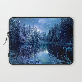 A Cold Winter's Night : Turquoise Teal Blue Winter Wonderland Laptop Sleeve