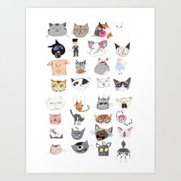 The Many Moods of Cats Art Print