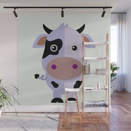 Purple cow by Leslie harlo Wall Mural