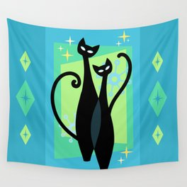 Sassy Sparkling Atomic Age Black Kitschy Cats Wall Tapestry