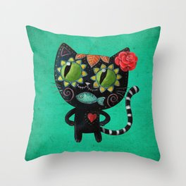Black cat of the dead Throw Pillow