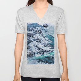 Gulfoss Waterfall Iceland Unisex V-Neck