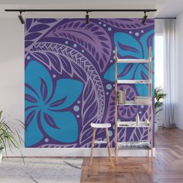 Circular Polynesian Hawaiian Blue Purple Floral Tattoo Wall Mural